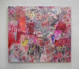 Stamatis Papazoglou: 2019 Acryl, Spraypaint, Papier, Leinwand, Keilrahmen 195 x 220 cm
