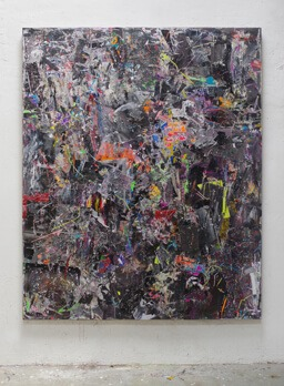 Stamatis Papazoglou: 2019 Acryl, Spraypaint, Papier, Leinwand, Keilrahmen 210 x 170 cm