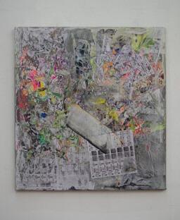 Stamatis Papazoglou: 2019 Acryl, Spraypaint, Papier, Leinwand, Keilrahmen 80 x 70 cm
