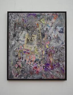 Stamatis Papazoglou: 2019 Acryl, Spraypaint, Papier, Leinwand, Keilrahmen 100 x 80 cm