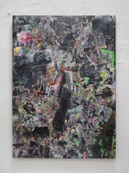 Stamatis Papazoglou: 2019 Acryl, Spraypaint, Papier, Leinwand, Keilrahmen 140 x 100 cm
