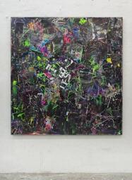Stamatis Papazoglou: 2019 Acryl, Spraypaint, Papier, Leinwand, Keilrahmen 160 x 150 cm
