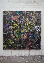 Stamatis Papazoglou: 2019 Acryl, Spraypaint, Papier, Leinwand, Keilrahmen 160 x 155 cm