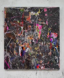 Stamatis Papazoglou: 2019 Acryl, Spraypaint, Papier, Leinwand, Keilrahmen 100 x 90 cm
