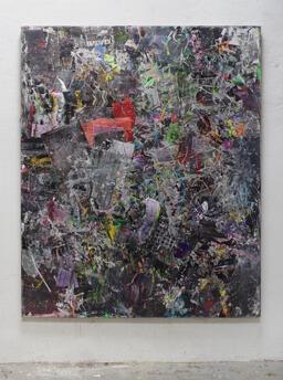 Stamatis Papazoglou: 2019 Acryl, Spraypaint, Papier, Leinwand, Keilrahmen 210 x170 cm