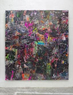 Stamatis Papazoglou: 2019 Acryl, Spraypaint, Papier, Leinwand, Keilrahmen 220 x 200 cm